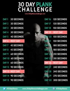 """30 Day Plank Challenge from 30 Day Fitness Challenges"""